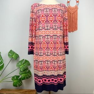 Vince Camuto Geometric Floral Print Shift Dress